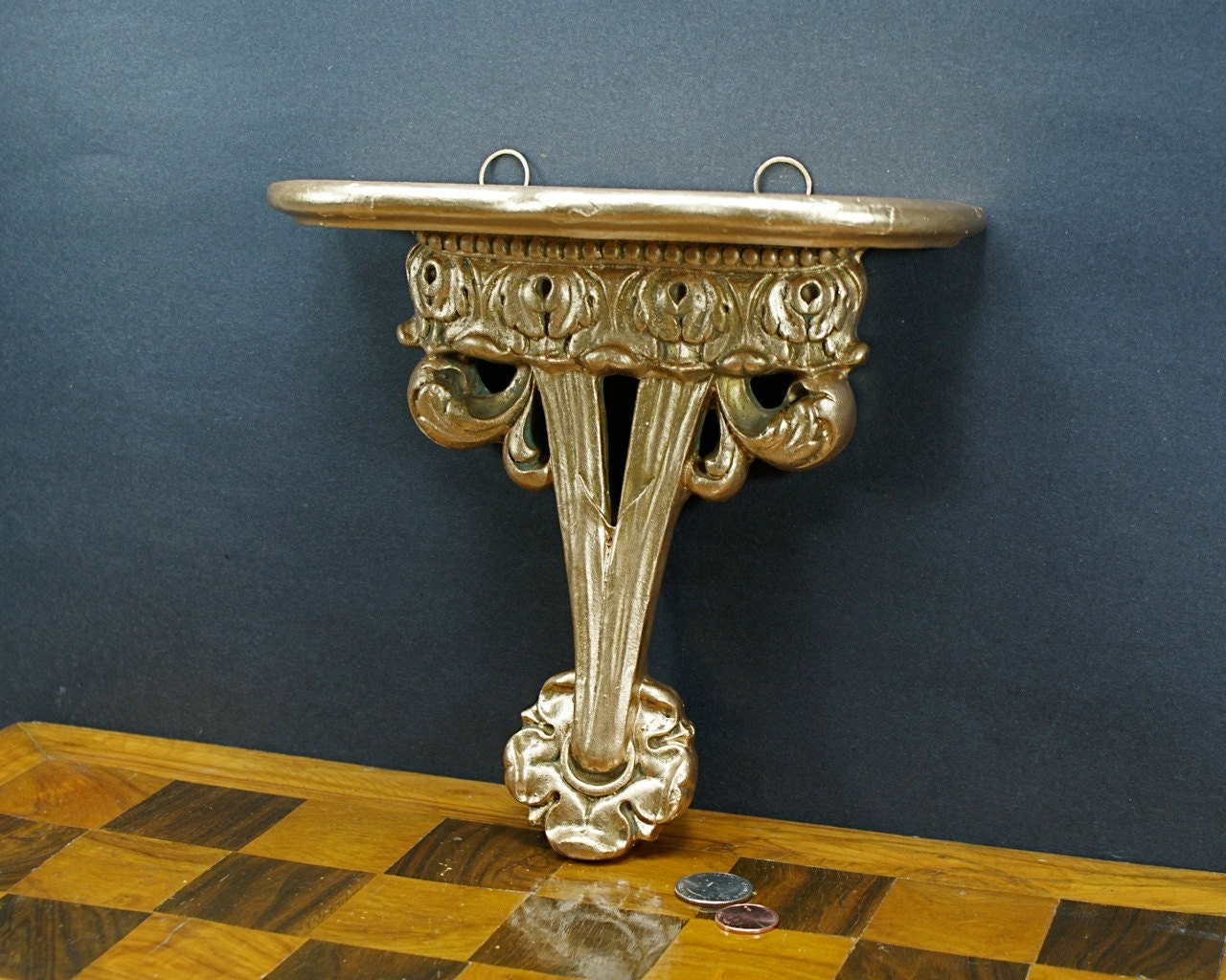 Golden Elegance Small Shelf Gold Baroque Ornate Plaster Wall