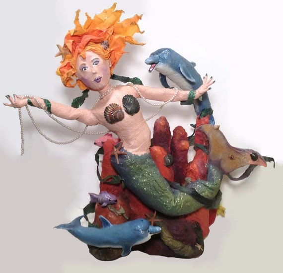 Paper Mache Mermaid, Mermaid Art, Original Mermaid Art Doll, Mermaid Sculpture Decoration RESERVED for Kay