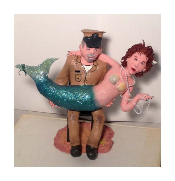 sailor and mermaid wedding cake topper paper mache mermaid amp sailor wedding cake topper by 19618