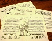 vintage paper ... Illustrated SHEET MUSIC CIRCUS and more  for your crafting fun ...