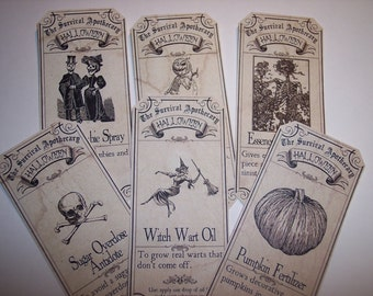 Halloween Survival Steampunk  Apothecary Labels Set of 6