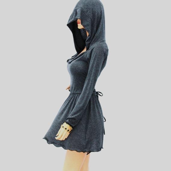 Cowl Neck Hooded Dress