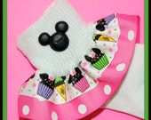 BIRTHDAY Minnie Mouse inspired Cupcakes and Ice Cream Cones girls Double Ruffle Socks. You pick custom colors.