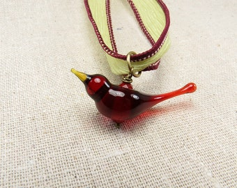 Ruby red romantic love bird necklace on green silk hand dyed ribbon