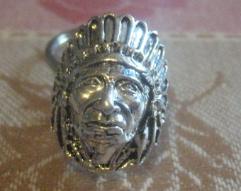 Silver Tone Native American Indian Chief Ring Key Chain