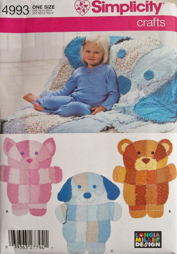 Animal Rag Quilts for Little People Simplicity 4993 uncut
