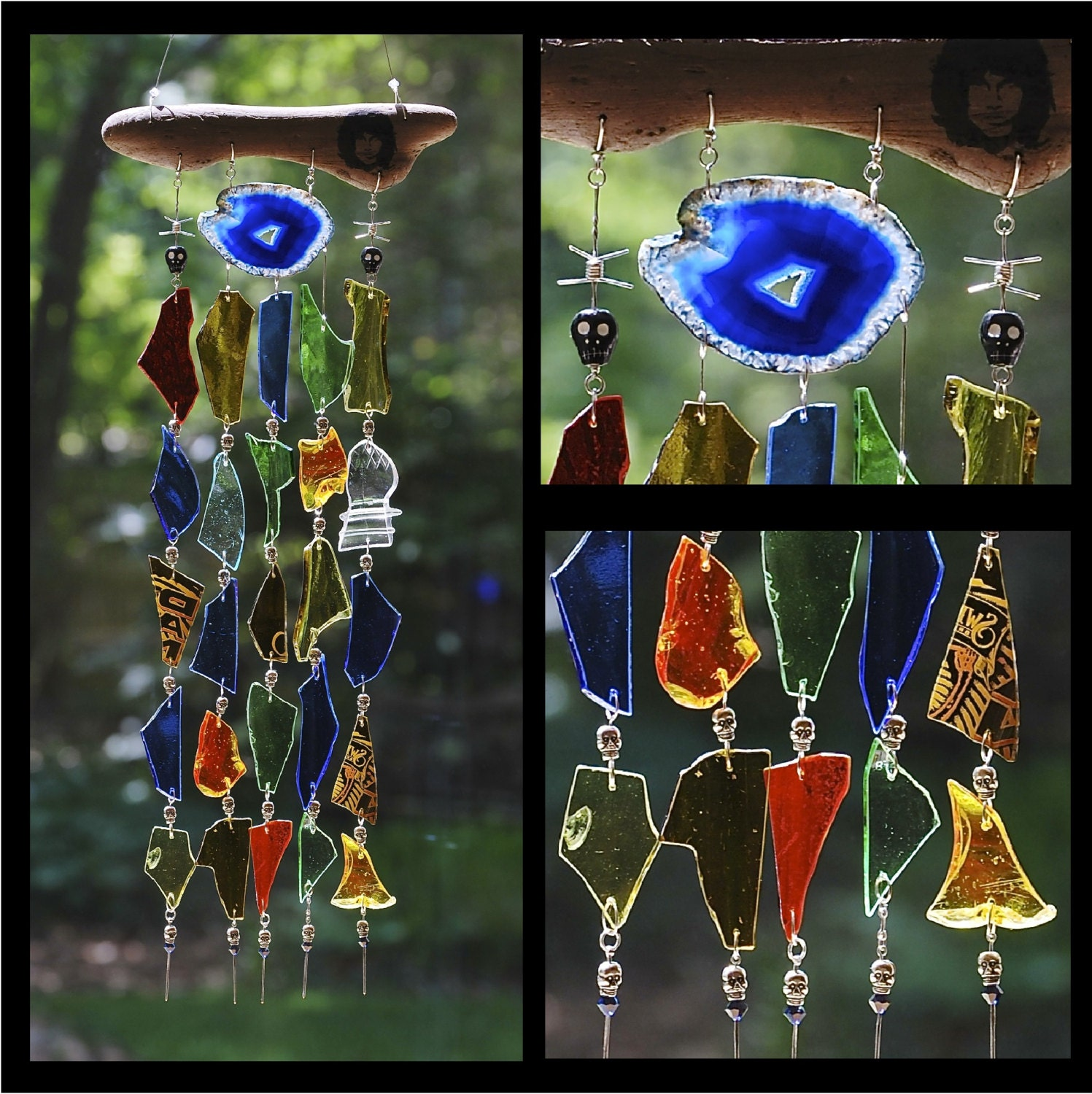 Recycled glass wind chimes ode to l a reserved for carol for Wind chimes from recycled materials