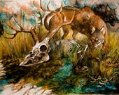 WHAT REMAINS buy giclee print or original ink and watercolor painting/drawing-- wolf wildlife art
