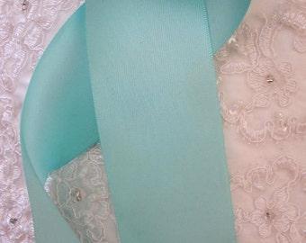 "Aqua Blue 2"" 50 mm Double Faced Satin Ribbon Wedding Gown Sash"