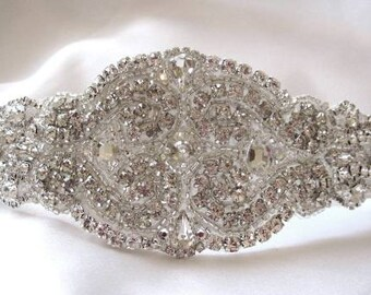 Bridal Beaded Swarovski Crystals Bracelet Cuff