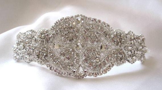 Bridal Beaded Swarovski Crystals Bracelet Cuff