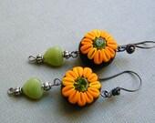 Chocolate Sun Flowers - Dangling Polymer Clay Earrings