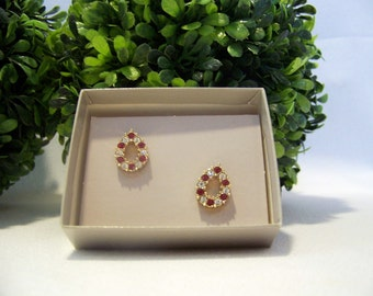 Vintage Simulated Rhinestone and Ruby Pierced Earrings
