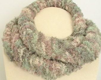 Green Tan Sparkle Knit Mini Infinity Scarf