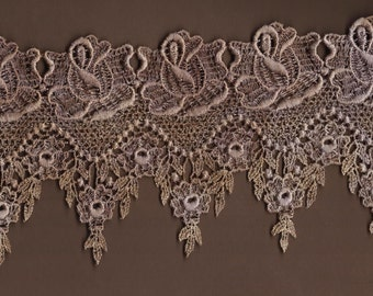 Hand Dyed Venise Lace Victoriana  Aged Violet Patina
