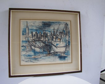 Vintage Harbor Scene Pencil Signed Franck Harbor Lines