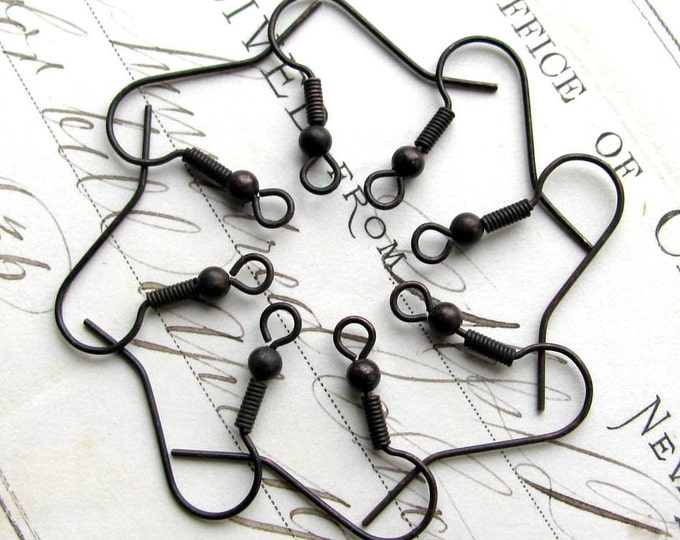Fish hook ear wires with bead and coil, 25mm, dark antiqued brass (8 black earwires) shephard shepherd hook, black patina, black ear wire