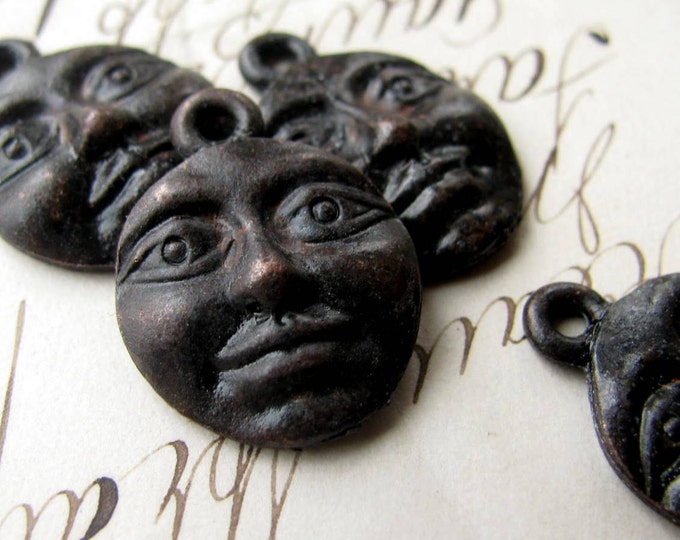 Moon face charm from Bad Girl Castings, 20mm, antiqued dark pewter (4 charms) spiritual healing, night, women, oxidized black, Boho charms