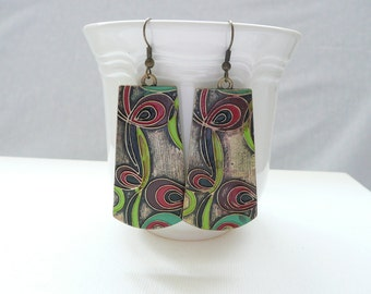 nd-Extra Large Red, Green, Brown, and Bronze Tribal Dangle Earrings