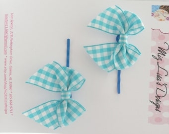 nhp-Blue Gingham Bow Hair Pins