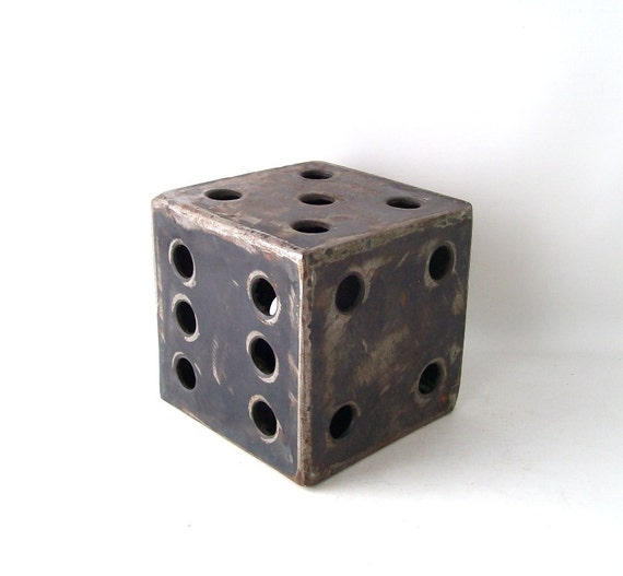 Vintage Dice Door Stop Stopper Steel Metal By