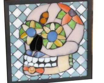 Fun Little Sugar Skull Art Glass Mosaic