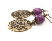 Purple Dangle Earrings, Jasper Stones, Wire Wrapped, Textured Brass Drops, Bohemian Earrings