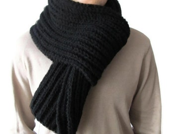 Men Black Knit Scarf Thick Extra Long 78 inches Pure Merino Wool by nevita on etsy