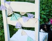 Crochet Triangle Nursery Bunting - Lavender Almond Mint Garland - Geometric Baby Room Decor