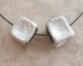Raku Ceramic Beads - Pair of White Crackle Large Knucklebone Beads