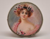 Russian Hand Painted Miniature Portrait Painting Brooch Pink Victorian Lady - FrenchQueensRansom