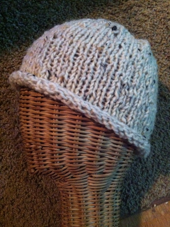 Tweed wool rolled brim beanie/hat in natural/cream