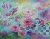 Pretty in Pink Original Floral Oil Painting, 18X24 canvas, floral abstract paintings, pink flowers, roses, mint green, Vickie Wade art