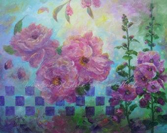 Precious in Pink Original Oil painting 18X24 canvas abstract floral wall decor flower art roses mint green, fushia, Vickie Wade art