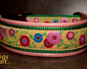 Handmade Easy Release Aluminum Buckle Leather Dog Collar SUNSHINE FLOWER by dogs-art in pink/green/Sunshine flower yellow
