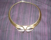 vintage   signed Faberge costume choker necklace rhinestones 2 tone goldtone silver  coil choker necklace