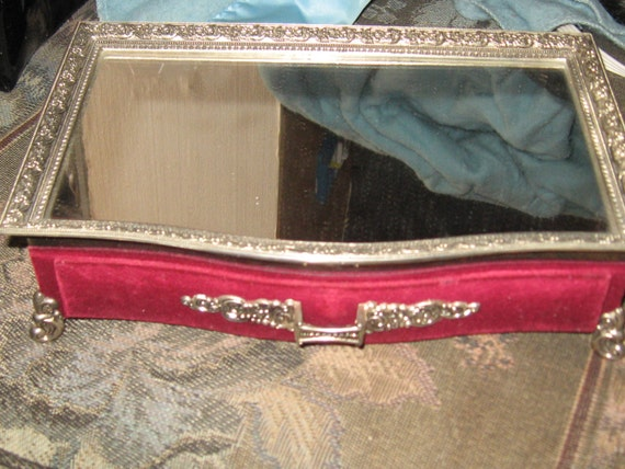 Vintage Mirrored Dresser Top Jewelry Box By