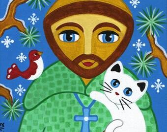 Saint FRANCIS of Assisi & CAT Folk Art PRINT From Original Painting by Jill