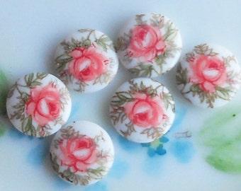 N869E Vintage Cabochons Limoges Cabs Roses Japan 10mm Rose Pink Shabby chic Cottage Round