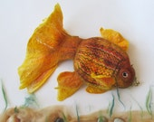 Felted fish purse cosmetic Golden  Fish  Yellow Red octopurse - galafilc