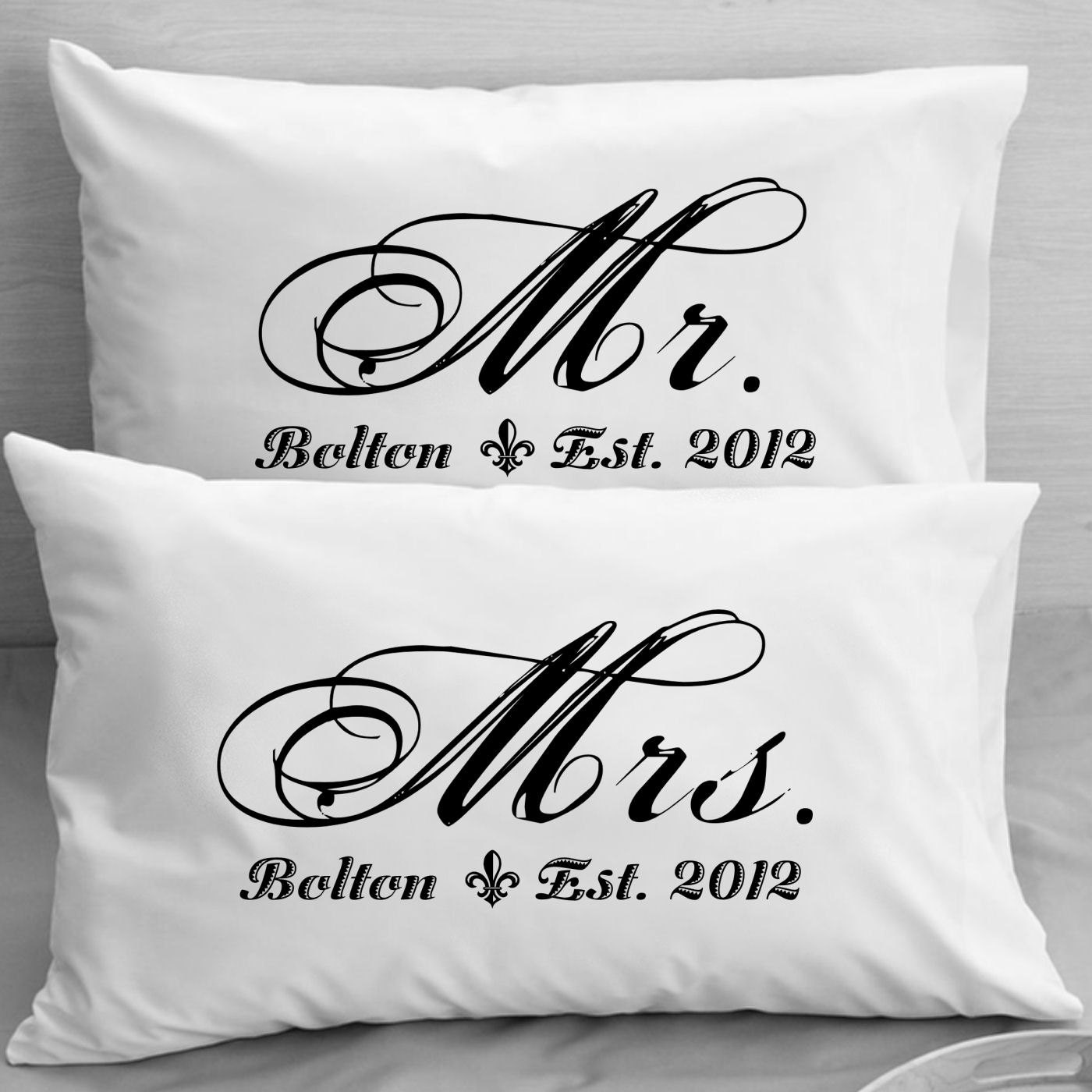 Wedding Gift For 40 Year Old Couple : Mr and Mrs Pillowcases Custom Personalized Wife Husband