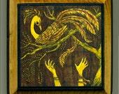 Mounted print wood art- Phoenix