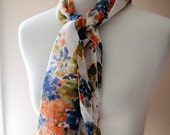 "Store Closing! Multi-color Floral Hair Wrap -- Headscarf for women -- Headcover Shawl Headcovering 18"" x 54"""