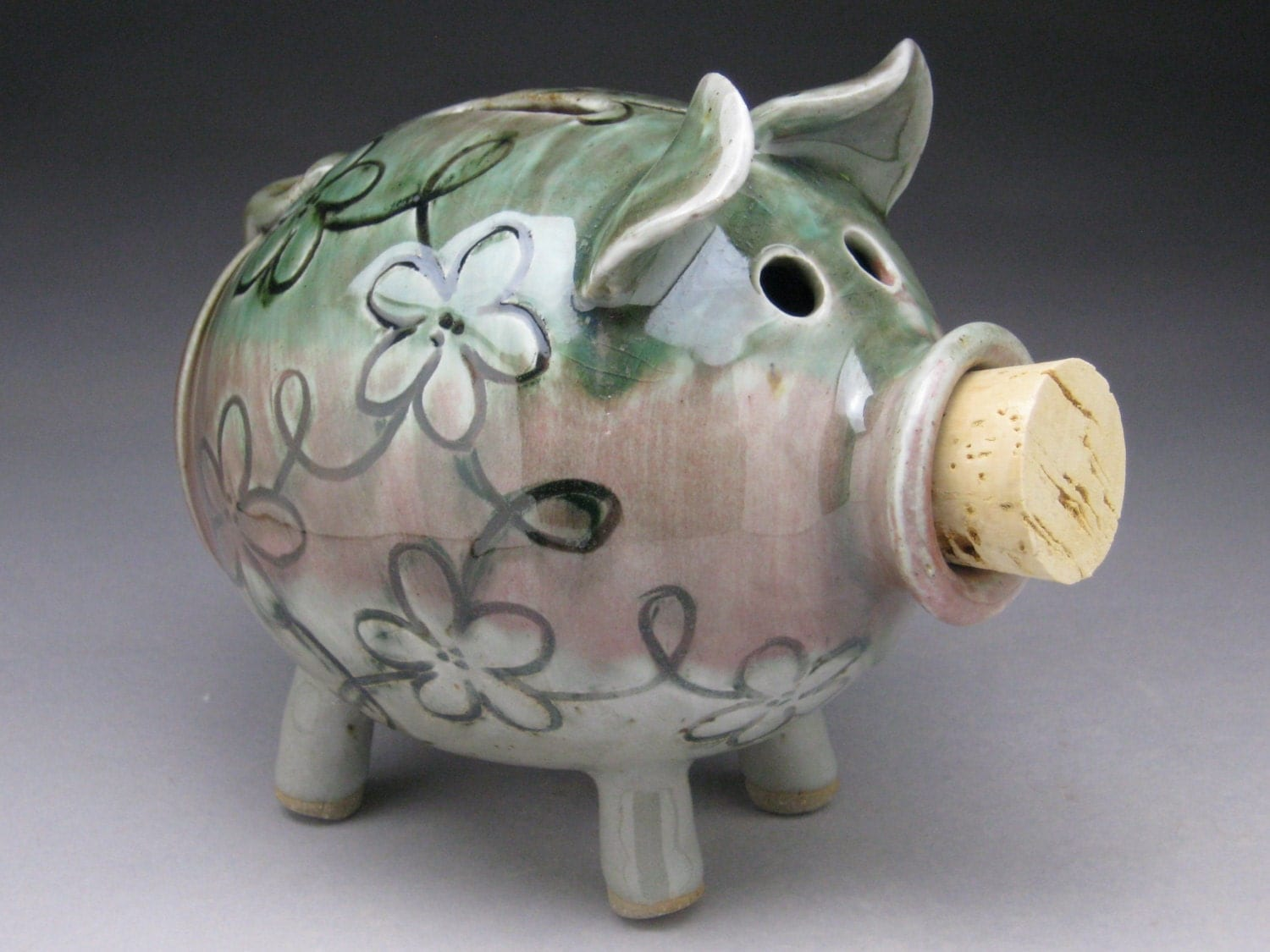 Pink And Green Ceramic Piggy Bank With Whimsical Flower Design