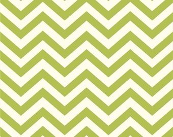 Organic Cotton Fabric- Birch Mod Basics2 - Skinny Chevron -grass- Great Shipping Rates