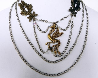 Steampunk Necklace: Neo-Victorian Metals Brass Phoenix necklace