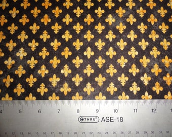 Fleur d' lis Flower fabric cotton Fabric Quilt Quilting black & gold N.O. Saints and Mardi Gras Too