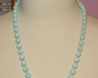 Baby Blue Beaded Necklace, Marbleized Beads,  Vintage 1970's