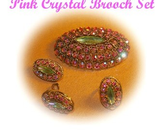 Vintage Pink Rhinestone Brooch, Ring, Earrings,  4 Piece SET, Pink Aurora Borealis, Green Marquise Center, Vintage 1960's