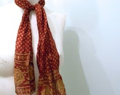 vintage. 70s Deep Red SIlk Scarf // Handmade in India